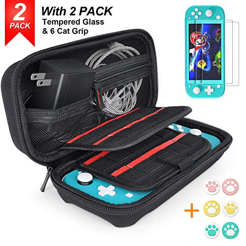 daydayup Hestia Goods - Funda para Nintendo Switch Lite, con 20 Cartuchos de Juego, Carcasa Dura, Interruptor de Transporte para Nintendo Switch Lite y Accesorios, Color Negro