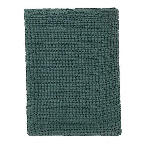 URBANARA 180x230 cm Tagesdecke/Plaid Anadia Grün — 100% Reine Baumwolle — Ideal als Bettüberwurf oder Kuscheldecke — Stonewashed-Effekt — geeignet für Einzel- und Doppelbett