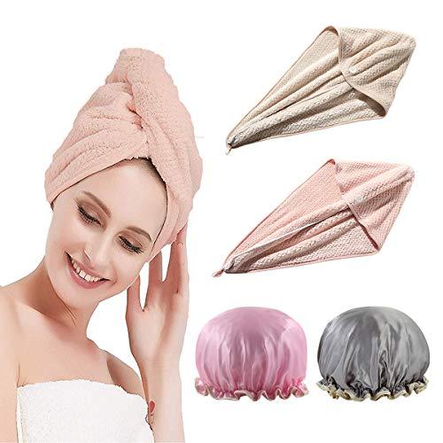 ZOCONE Turban badhanddoek, 4 stuks, microvezel handdoek, sneldrogend, microvezel handdoek