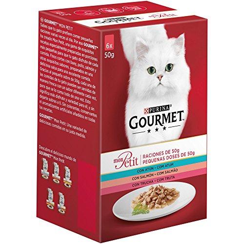 Purina Gourmet Mon Petit comida para gatos con Atún, Salmón y Trucha 8 x [6 x 50 g]