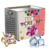 Electric Ice Cream Roll Maker - 180W Fried Yogurt Machine, Stainless Steel Square ice pan Fry ice Cream Machine Fried Ice Cream Machine roll ice Cream Machine for Bars, Cafes, Dessert Shop