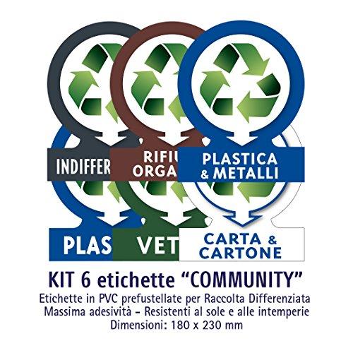ATK - Etichette autoadesive in PVC per la gestione dei rifiuti - KIT COMMUNITY (GRANDE) - 6 etichette assortite 180x230 mm