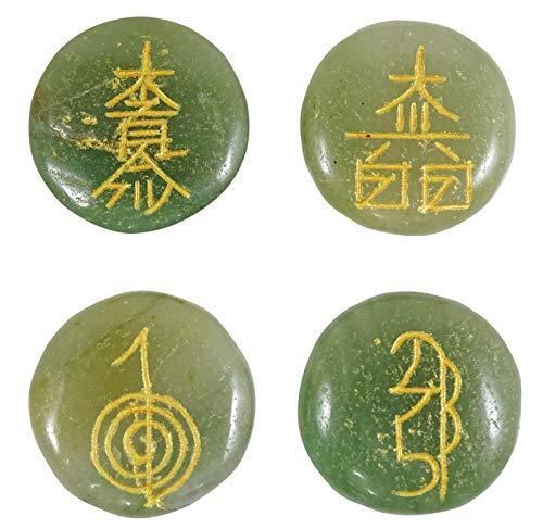 Harmonize Runde Form Lose 4 Stück Nephrit Reiki Kristalle Karuna Symbol Heilung
