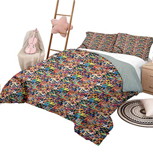 Nomorer 3 Piece Bedding Sets King Size Geometric Quilt Cover with Pattern Pixel Art Pattern Digital