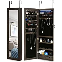 Risar Jewelry Armoire Organizer with Full Length Dressing Mirror (Brown)