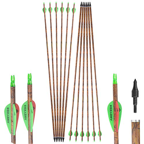 SHARROW 6/12pcs Tiro con Arco Flechas y saetas, 32 Pulgadas Spine 400 Arcos y Flechas para Caza o práctica, Hecho en Carbono Puro