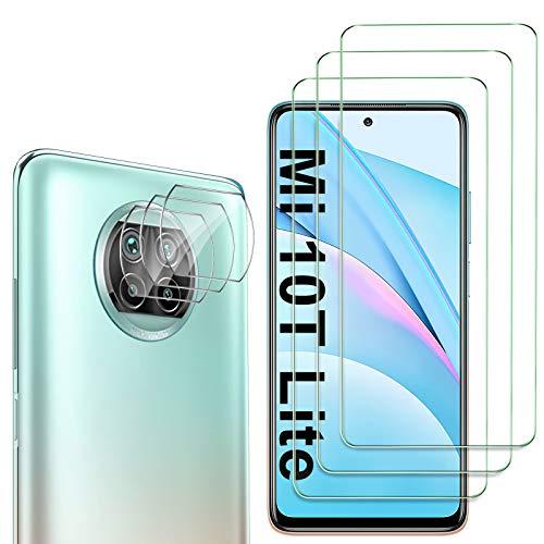 GESMA 3 Piezas Protector de Pantalla Compatible con Xiaomi Mi 10T Lite 5G, 3 Piezas Protector de Lente de Cámara Compatible con Xiaomi Mi 10T Lite 5G, Cristal Templado de HD Anti-arañazos