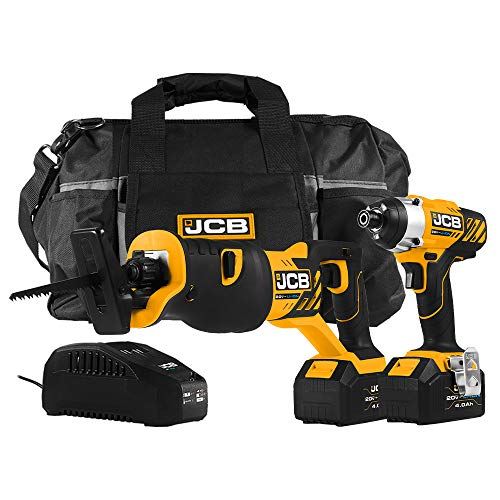 JCB Tools - 20V, 2-Piece Power Tool Kit - Impact Drill Driver, Reciprocating Saw, 2 x 4.0Ah Batteries, Charger, Tool Bag - For Home Improvements, Drilling, Screw Driving, Sawing, Drywall