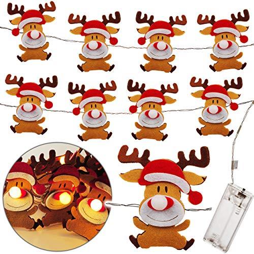 alles-meine.de GmbH LED - Lichterkette - Batterie betrieben - süßes Rentier - Weihnachten - 1,8 Meter - je 10 LED´s - warmweiß - Laterne - Lampen Licht batteriebetrieben - Lampio..