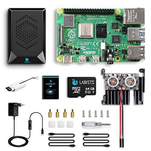 Raspberry Pi 4 8GB, Raspberry Pi 4 Model B 8GB Ultimatives Kit mit 64GB Micro SD-Karte, 5V 3, 0A USB-C EIN/Aus-Schaltnetzteil, Kühlkörper, Micro HDMI-Kabel und Premium Gehäuse