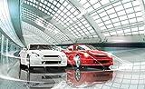 FORWALL Fototapete Tapete Luxuriöse Autos Ausstellung P4 (254cm. x 184cm.) AMF1926P4 Wandtapete...