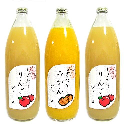 無添加 無調整 ストレートフルーツジュース 詰め合わせ 1L×3本入 リンゴ リンゴ みかん