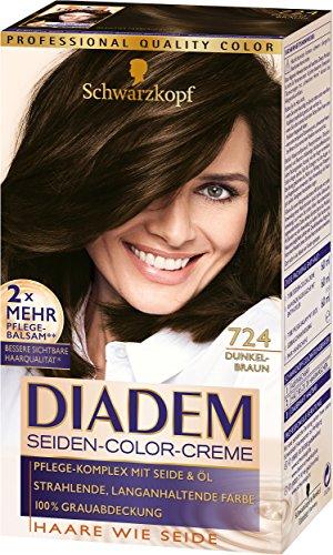 Schwarzkopf Diadem Seiden-Color-Creme, 724 Dunkelbraun Stufe 3, 3er Pack (3 x 180 ml)