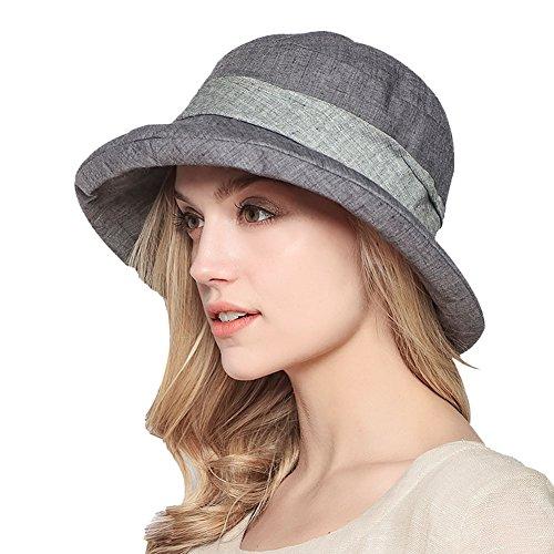 Damen Sommer Strand Hat Eimer Hut Fedorahüte großer Rand-Anti-UV Sonnenhut Faltbarer Sonnenhut (Gray)