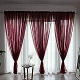 BOYOUTH Cortinas de gasa transparente de color sólido, con bolsillo para barra, para dormitorio, sala de estar, hotel, rojo vino, 1 panel, 39 x 78 pulgadas
