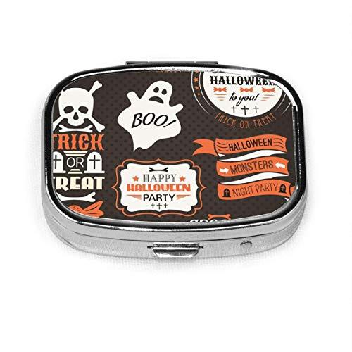 Halloween Vintage Set Labels Ribbons Slots Medicine Box Square Metal Pill Box Small Medicine Case Vitamin Box for Travel