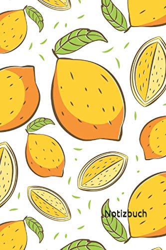 Notizbuch: Zitronen Notizbuch | 6x9 Zoll DIN A5 | 100 Seiten liniert | Zitrone Notizheft | Zitronenmuster Tagebuch | Garten Notebook