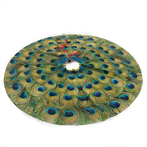 Juhucc Peacock Feathers Circle Christmas Tree Skirt 36 in for Christmas Decorations Skirt Rustic Xmas Holiday New Year Party Tree Mat Decor Indoor Outdoor Christmas Tree Mats