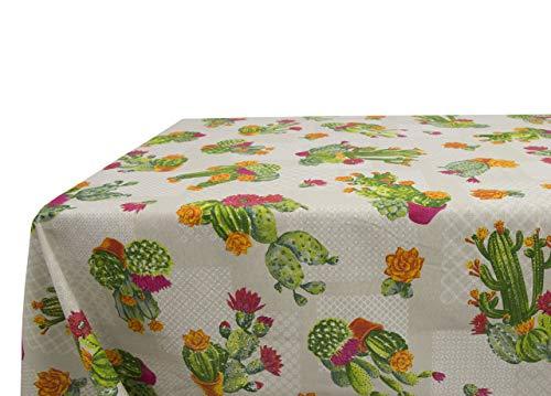 Nappe en coton fantaisie Cactus 140x140 beige