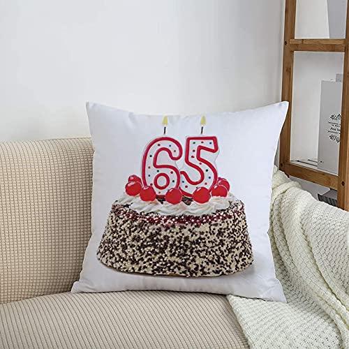 Fundas de cojines sencillas y clásicas de 45 x 45 cm,Decoraciones del 65 cumpleaños, velas encendidas número se,ideales para casa, oficina o para la espalda en el coche - Fundas de Poliéster para sofá