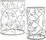 Palais Furnishings Night Stands for Bedrooms Set of 2 White, Metal Barrel End Table, (Branch & Bird Design White)