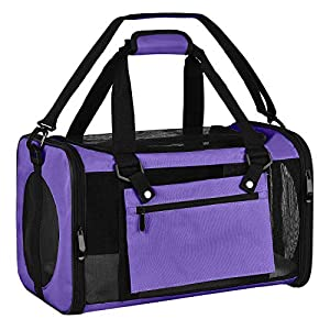 EOOORL Cat Carriers Dog Carrier Pet Carrier for Small Medium Cats Dogs Puppies of 20 Lbs, TSA Airline Approved Small Dog Carrier Soft Sided, Collapsible Puppy Carrier – Black Grey Pink Purple Blue…