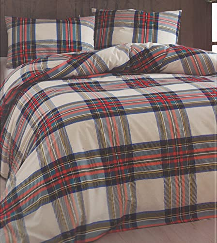 Daunex - Funda nórdica con fundas de almohada de algodón   Juego de funda nórdica con diseño de tortuga   Funda nórdica sin sábana bajera, tamaño tartán natural, plaza y media