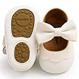 Timatego Baby Girl Mary Jane Flats Shoes Non Slip Soft Sole Infant Toddler First Walker Wedding Princess Dress Crib Shoes, 0-6 Months Infant, 10 White