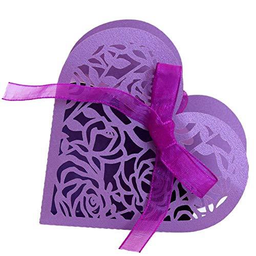 Demarkt Huwelijk snoepgoed dozen schattig papier bruiloft baby shower Favor geschenk bonbondoosje hol liefde bonbondoosje donkerpaars