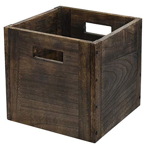"Wood Storage Cube Basket Bins Organizer Rustic Brown Decorative Wood Storage Box Container for HomeOfficeClosetShelf 11"" x 11"" x 11"""