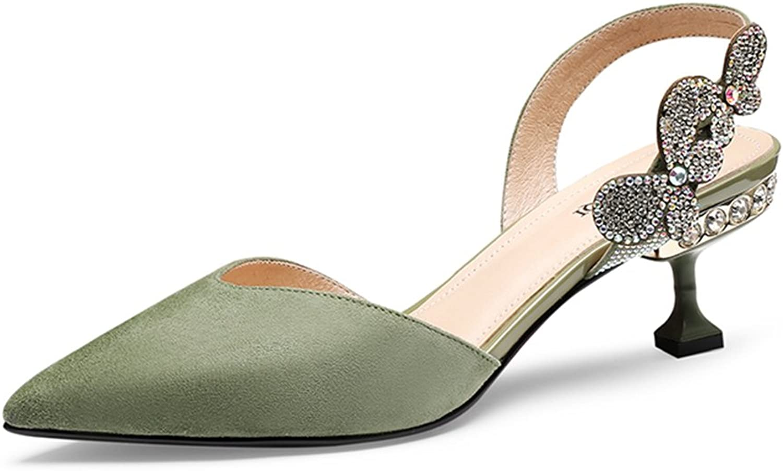 Gailongjunnvxie GLJXG Womens Ladies Low Mid Heel Sandals\ Pointed Hollow Sandals\ Summer Fashion Slippers