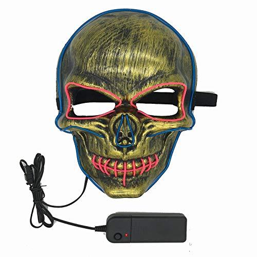 Leuchtende Maske, LED-Maske, Rave-Maske, Totenkopf-Maske, DJ-Maske, Halloween-Maske, Cosplay-Maske -  -  Einheitsgröße