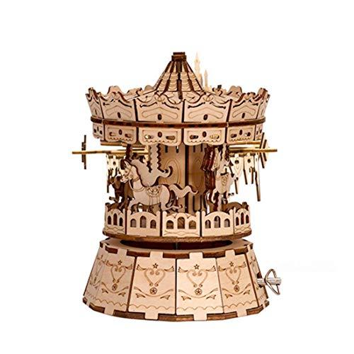 3D Puzzle Cerebro Teaser DIY Building Modelo de maquinaria de carpintería Kit de construcción para niños y Adultos, Caja de música carrusel