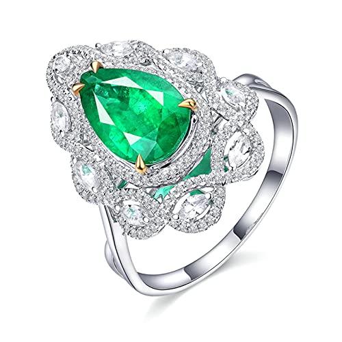 KnSam Mujer Hombre Unisex 18K oro blanco talla pera verde Emerald