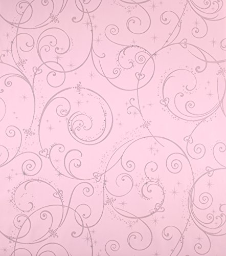 York Wallcoverings Disney Kids DK5967 Perfect Princess Scroll Wallpaper, Pink with Glitter
