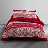 J&K Markets - Funda de edredón de franela Winter, color rojo, 240 x 260 cm, 2 personas, 100% algodón franela + 2 fundas de almohada