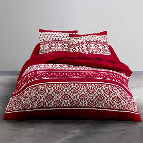 J&K Markets Housse de Couette Flanelle Winter, Cocooning, Rouge, 240x260cm, 2 Personnes, 100% Coton Flanelle + 2 taies d'oreiller