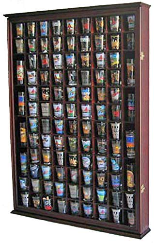 100 Shot Glass Display Case Holder Shadow Box Wall Cabinet, with Acrylic Door (Mahogany Finish)