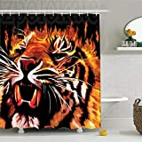 XIYANG Cortina De Ducha A Prueba De Moho Safari Decor Set Fire Power Tiger Flames Hunter Forest King Beast Stripes Furry Large para Baño 180X180Cm