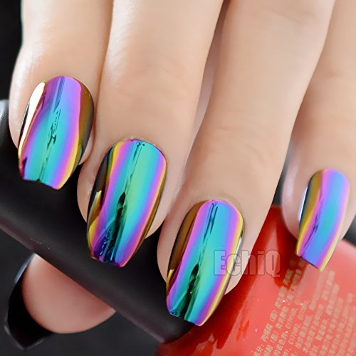 EchiQ Ballerina Ongles cercueil miroir chromé, Faux ongles solides à effet reflet magique, vert, violet, holographique