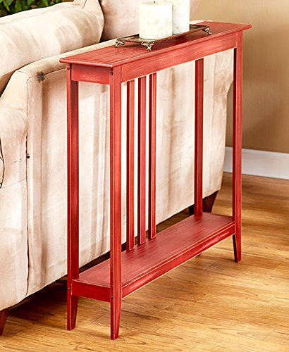 The Lakeside Collection Slim Space-Saving Accent Table (Antiqued Country Red)