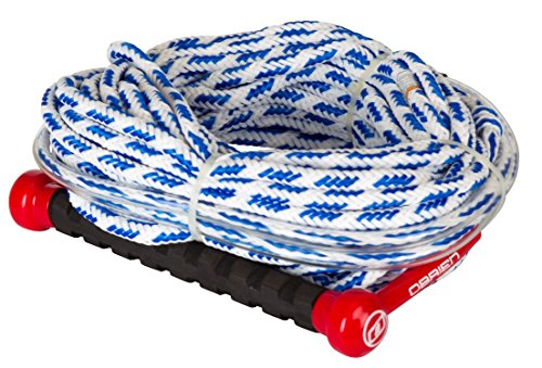 O'Brien 1 Section 75 Foot Floating Deep V Combo Slalom Water Ski Tow Rope and Bridle Handle, White/Blue