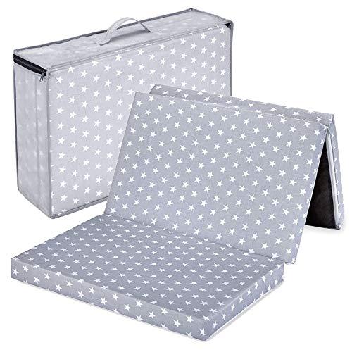 Bambini Reisebettmatratze Reisematratze Sterne grau 120x60 | Höhe 6 cm | Klappbar | Bezug abnehmbar und waschbar