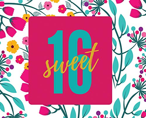 Happy 16th Birthday Guest Book (Landscape ~ Hardcover): Sweet Sixteen Guest book, party and birthday celebrations decor, memory book, 16th birthday, ... guestbook, celebration parties, messa