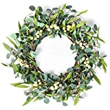 """ROOCHL Artificial Eucalyptus Wreath - 18"""" Fake Green Leaves Eucalyptus Wreath with White Berry for Front Door, Wall, Window, Farmhouse Decoration (Eucalyptus Wreath with Berry)"""