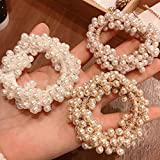 Yean Coleteros de pelo con perlas para el pelo, color rosa para mujeres y niñas (3 unidades) (coletero de perlas para el cabello)