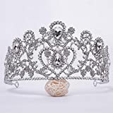 En Forma de corazón Tiara Celada Corona Nupcial Rhinestones de la aleación, circón Corona de la Novia Accesorios Cinta de Cabeza para la Mujer,Plata