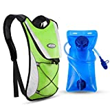 Kuyou Professional Hydration Backpack, Water Bag Backpack with 2L Hydration Pack Water Bladder Perfect for Hiking Backpack Cycling Rucksack Climbing Camping Running Bags (Green)
