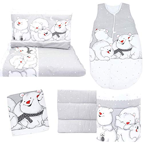 Juego de cama de 5 piezas: contorno de cama 360 cm, transpirable, saco de dormir, sábana bajera, funda nórdica, funda de edredón y funda de almohada, oso polar