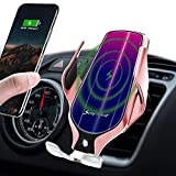 LUKKAHH Wireless Car Charger Mount,Auto-Clamping Air Vent Phone Holder,10W Qi Fast Car Charging,Compatible iPhone 12/12Pro/11/XS/XS Max/X/8/8+, Samsung Note9/Note10/S9+/S10+(Rose Gold)